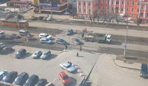 Ремонт участка дороги на Красноармейском.