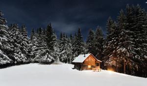 Дом в зимнем лесу. Сторожка. Много снега.