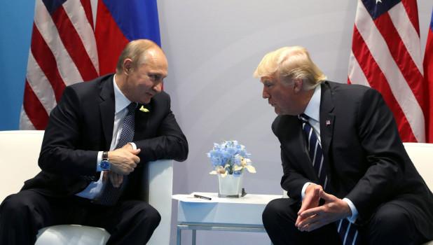 Встреча Владмира Путина и Дональда Трампа на саммите G20. Гамбург, 7 июля 2017 года.