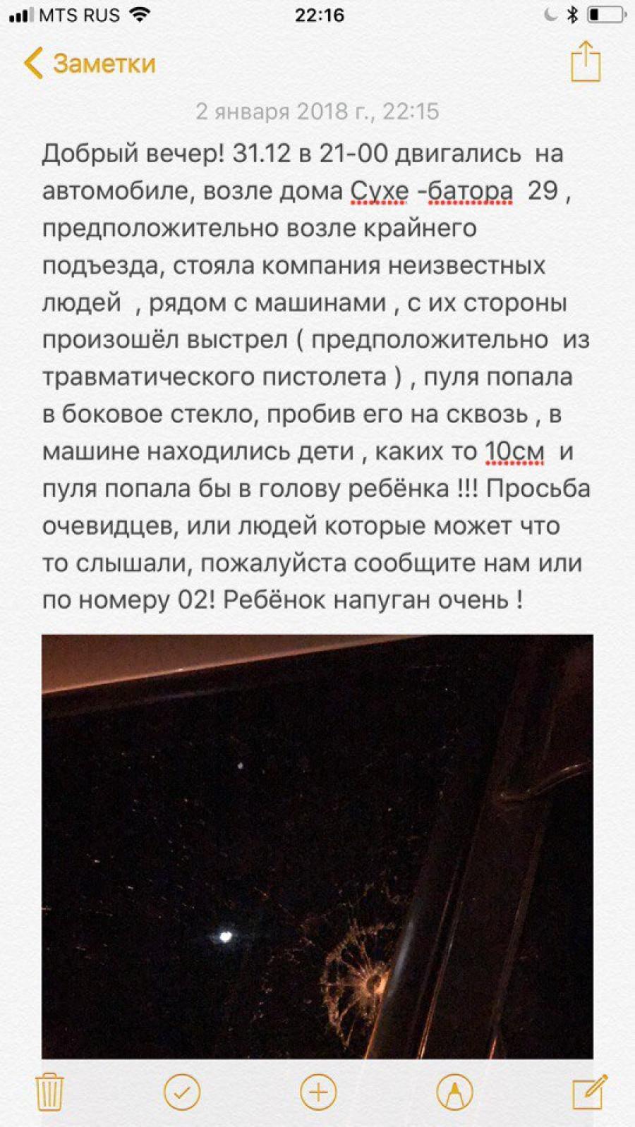В Барнауле в канун Нового года обстреляли машину с детьми.