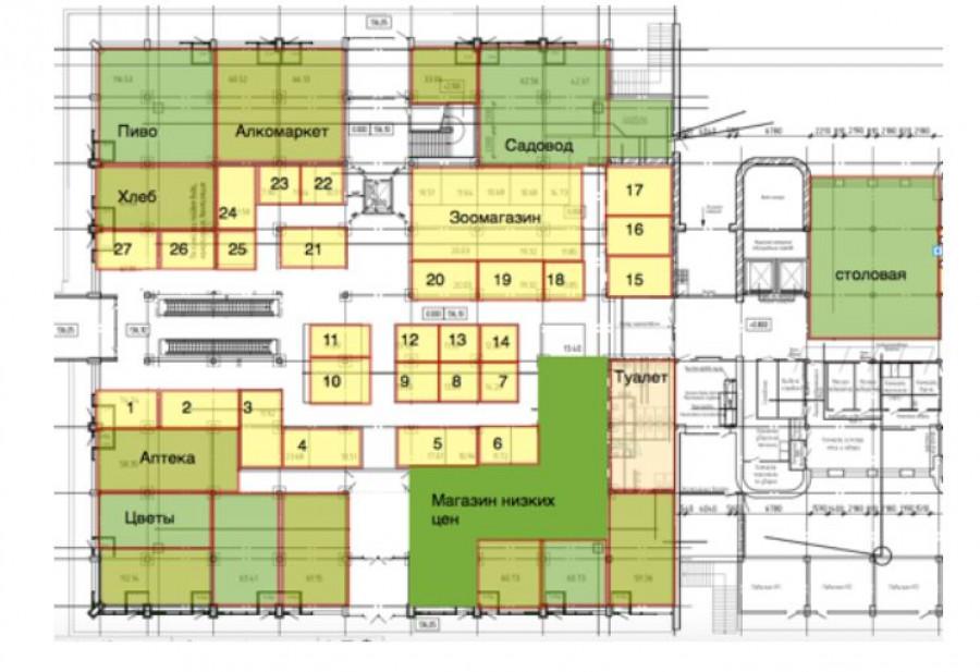 Проект планировки первого этажа Старого базара.