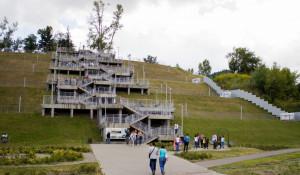 Лестница в Нагорном парке в Барнауле.
